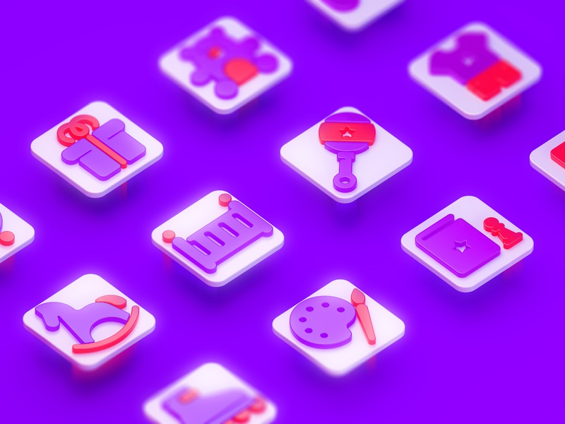 👶🏻 Baby Icons c4dart art design graphic vector clean cinema render cinema 4d c4d icon design icons pack icons set icons plates