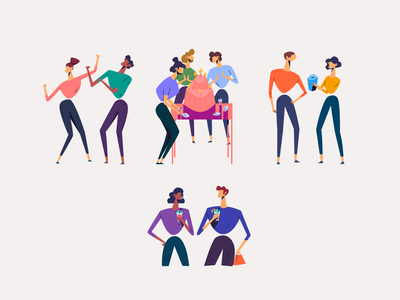 Party people cake animation dancing party geometric simple people human characters