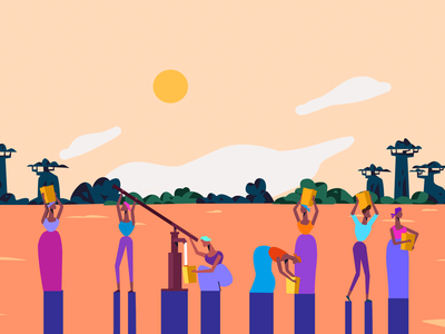 Watering place styleframe animation video explainer orange illustration people africa watering place