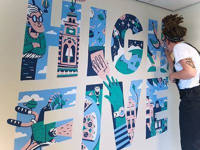High Five! amsterdam lettering handlettering typography muurschildering drawing painting wallpainting mural