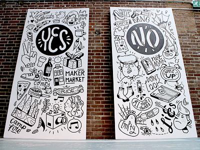Maker Market wall panels wall art dislikes likes amsterdam drawing illustration wallpainting mural