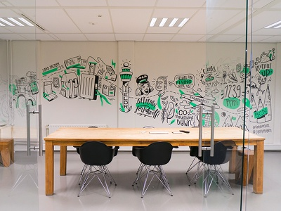 Wallnuts Yieldr lettering plane airport amsterdam illustration drawing wall wallpainting mural wallnuts
