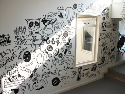Wallnuts In60seconds wall art office amsterdam drawing illustration wallpainting mural