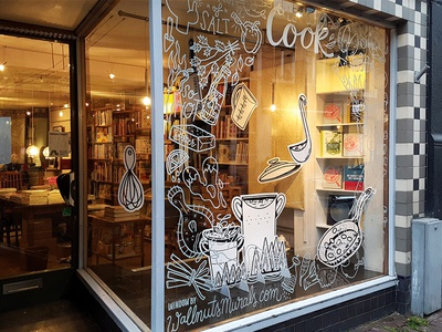 Shop window window painting food illustration shop window shop cook cooking foamboard food kookboekhandel window