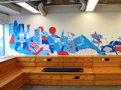 Stards-and-stripes mural for DigiB Brenntag stars and stripes wall art usa america office amsterdam drawing illustration wallpainting mural