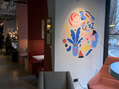 Mural The Student Hotel Amsterdam West wall art the student hotel illustration muurschildering wallart wallpainting drawing mural amsterdam