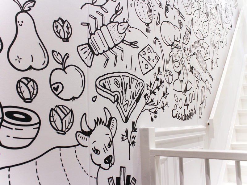 Cooking Studio mural wall painting lobster cheese dinner eating cow doodle drawing illustration mural food cooking