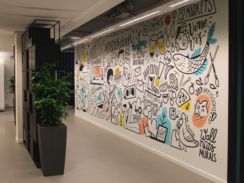 Mural at Elastic office Amsterdam office pigeon food gogh wall painting drawing illustration mural amsterdam elastic