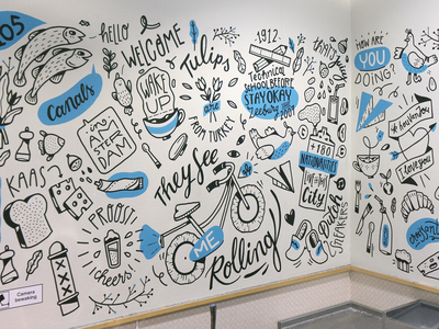 Stayokay Hostel Mural wallpainting handlettering lettering wall art illustration amsterdam mural drawing
