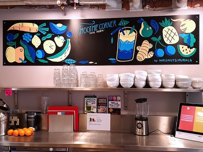 Chalkboard smoothie corner at Atlassian Amsterdam drawing atlassian avocado pear ginger food smoothie veggies fruit illustration chalk lettering chalkboard