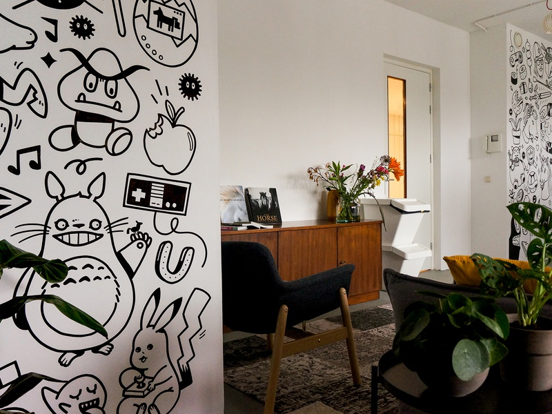 Mural at Studio Deloryan gaming tamagochi interior pokemon horse ghibli doodle drawing illustration wall painting wall art mural