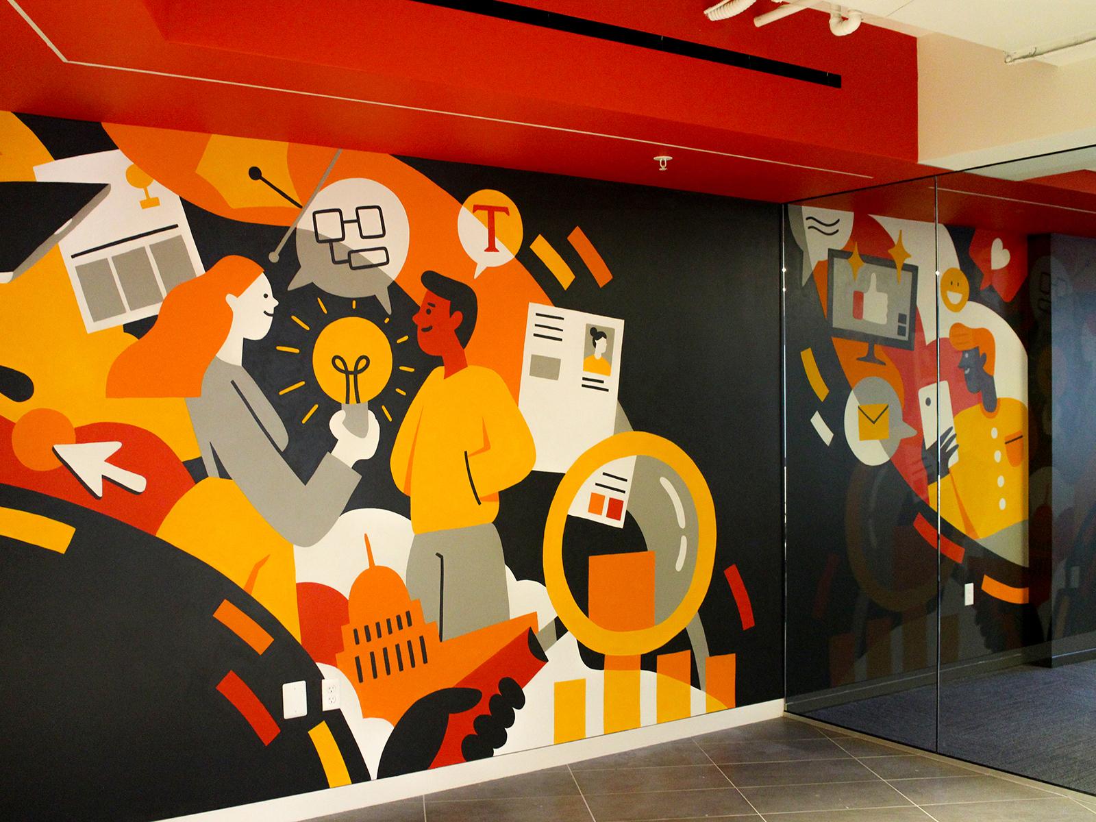 оранжевый рисунок на стене