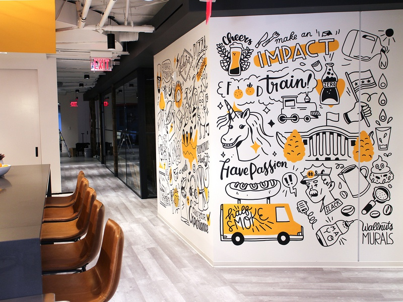Mural at Interactive Strategies Washington DC office interior white house dc washington half smoke wall painting wall art doodle unicorn mural