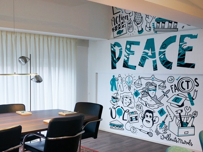 Mural at How2Ask doodle handlettering lettering wall art wallpainting amsterdam illustration drawing mural