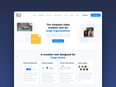 PlayPay's entreprise page branding desktop uidesign dribbble interface design video organization pelostudio popular landing landingpage ui website entreprise