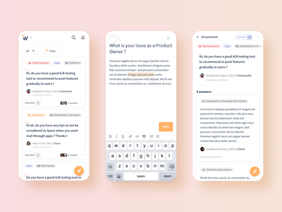 Whyse's new product responsive user interface ask uidesign dribbble share app design application community feedback question questions user experience userinterface identity interface sketch product design ui
