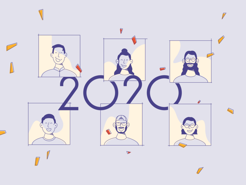 Happy new year ! happy best year faces team our team illustration new year 2020 happy new year design