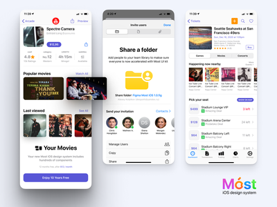 Móst iOS Design System 03 screen most button shadow flat complete dark light system design set kit figma iphone interface gui ui ux mobile ios