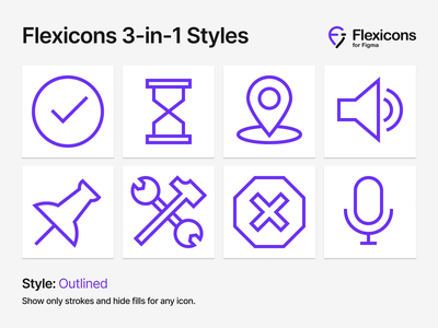 Flexicons 3-in-1 Styles glyph toolbar interface ux ui color duotone outline stroke fill vector figma design material android ios kit set icons icon