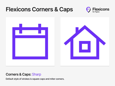 Flexicons Corners & Caps round fill stroke draw graphic smooth sharp corner cap vector android ios desktop mobile set kit icons icon