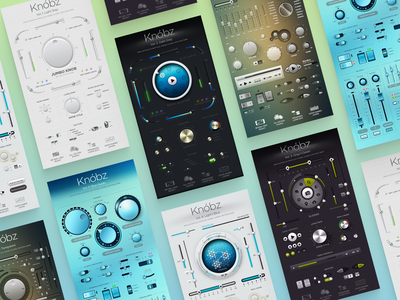 Knóbz Skeuomorphic UI Kit: 6 Volumes uiux uidesign ui kit interface vector switcher button slider vst audio skeuomorphic figma photoshop psd knobz knob set kit ux ui