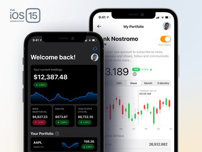 Full iOS 15 UI Kit — Financial Apps dark money bank screen icon kit design system android mobile chart stock trading finance iphone ios15 ios figma ux ui
