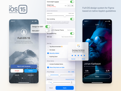 Full iOS 15 UI Kit for Figma popup window icon switch slider button settings iphone ios15 ios screen pro dark light system design figma ux interface