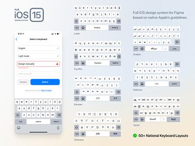 Full iOS 15 UI Kit — Keyboard Layouts iphone button system screen mobile dark light layout keys keyboard design ios15 ios figma ux ui