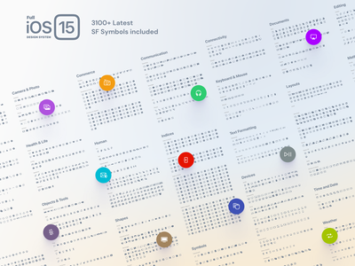 Full iOS 15 UI Kit — SF Symbols 3.0 Included sf apple symbol icon dark light system design figma iphone ios15 ios mobile interface ux ui