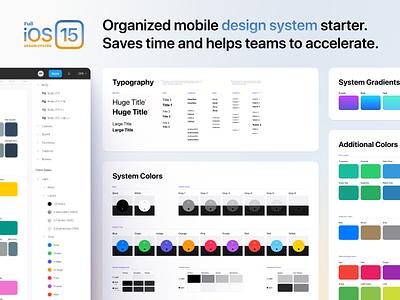 Full iOS 15 UI Kit screen template color button kit figma iphone ios15 ios system design mobile ux ui