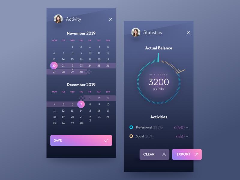 App UI sexy button screen stats statistics calendar interface uidesign design ux ui app figma ios