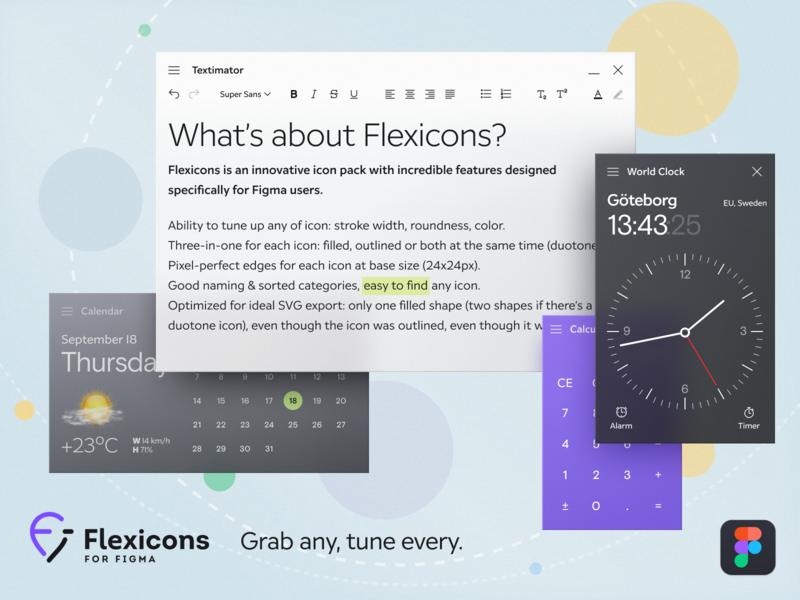Transparent Windows App UI with Flexicons design flat skeuomorphic fluent macos toolbar text calculator clock calendar figma icon light dark shadow transparent desktop webdesign mobile window