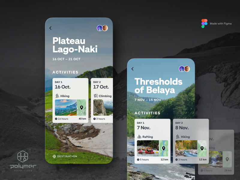 Travel App - Trip Detail, rebounded with Polymer figma icons polymer rafting interface ui hiking trip travel river mountain window fluent acrylic plastic transparency translucent system design mobile