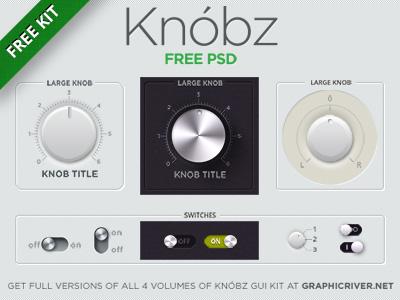 Knóbz FREE PSD ui switcher switch slider retina knobz knob interface gui bar audio apps