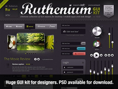 Ruthenium GUI Kit ui gui interface design knob button web gui kit ui kit set audio huge slider switch psd vector