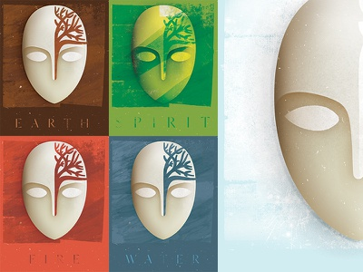 Brâncuși inspired mask for an eco project brushwork face air water fire spirit tree poster icon eco mask brancusi