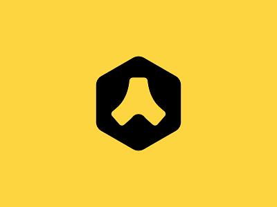 Transport Logo merge hexagon black yellow icon join transport logo