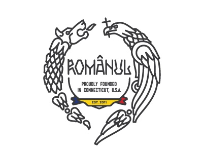 Logo-esque crest for an expat NGO from Connecticut, USA logo crest wolf snake eagle cross romania connecticut founded usa line lineart linework illustration