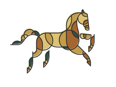 Iconotype, work in progress. circle common point equestrian horse iconotype logo