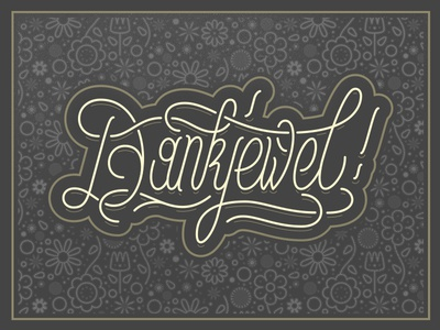 Dankjewel - Thank You Card lettering typography illustration illustrator card handlettering vector