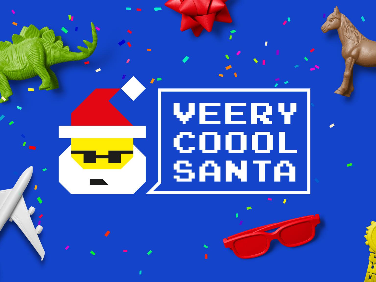 Veery Coool Santa blue red pixel gift santa logo
