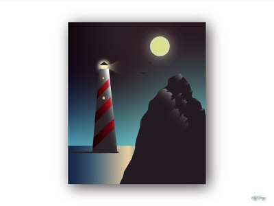 Lighthouse Illustration vector space mood night moon lighthouse poster illustration design illustration illustrator lighthouse gradient graphic design design colors