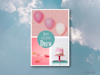Birthday card drew barrymore photography collage art color therapy color theory poster design birthday card design adobe photoshop typography logo graphic design illustration colors design illustrator