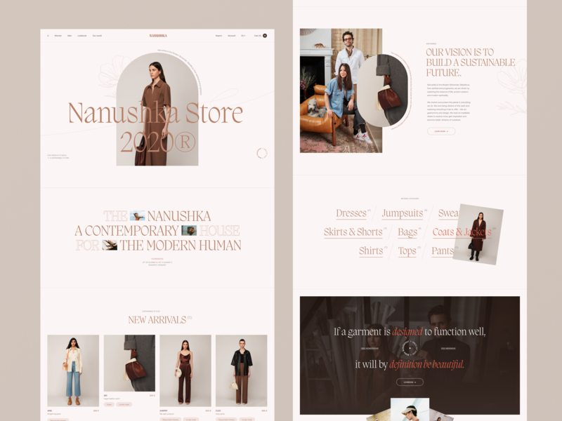 Nanushka Store homepage grid typogaphy fashion interaction minimal ui