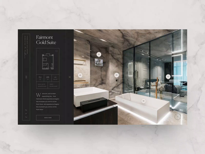 Fairmont Room Page minimal web room interior hotel animation interaction design ui