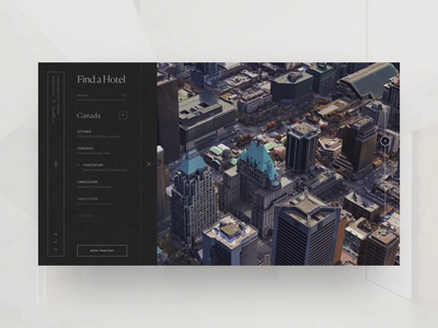 Fairmont Find a Hotel minimal map house web animation interaction design ui hotel