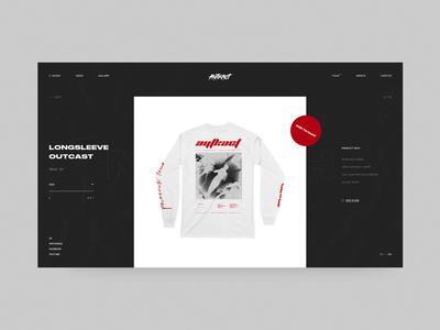Outcast.Metal Merch Page red clothing fashion black band musician music interaction design minimal ux ui