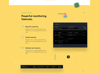 Monitoring and analytics SaaS website features server devops software product design dashboad rule automation condition conditional landing page saas website reporting branding illustration abstract geometric list features analytics monitoring