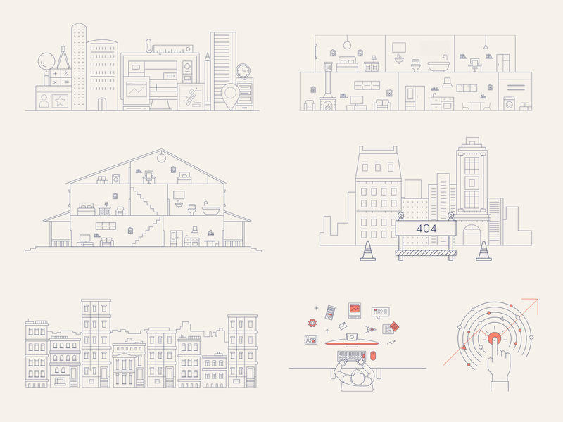 Real estate line illustrations (smart home) owners tenants real estate 404 page product design art direction branded illustrations house city smart home buildings thin lines outlines line brand cover branding geometry vector illustration