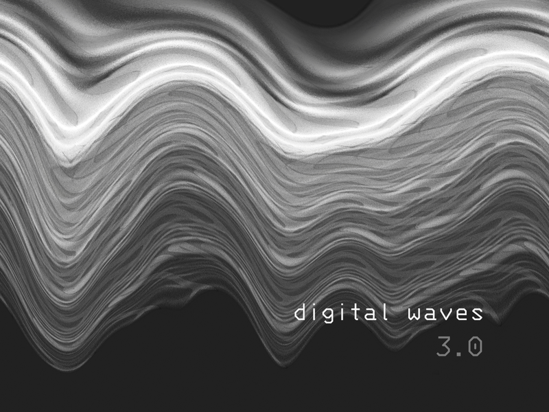 Digital waveforms illustration v3.0 canvas editing poster black and white background digital art label music album art audio sound wave waveform print abstract cover geometric branding geometry illustration
